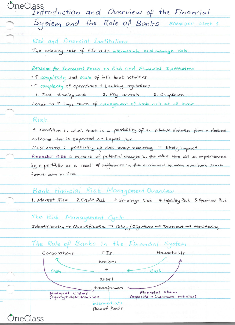 BANK3011 Midterm: Summary Note Week 1 Introduction and