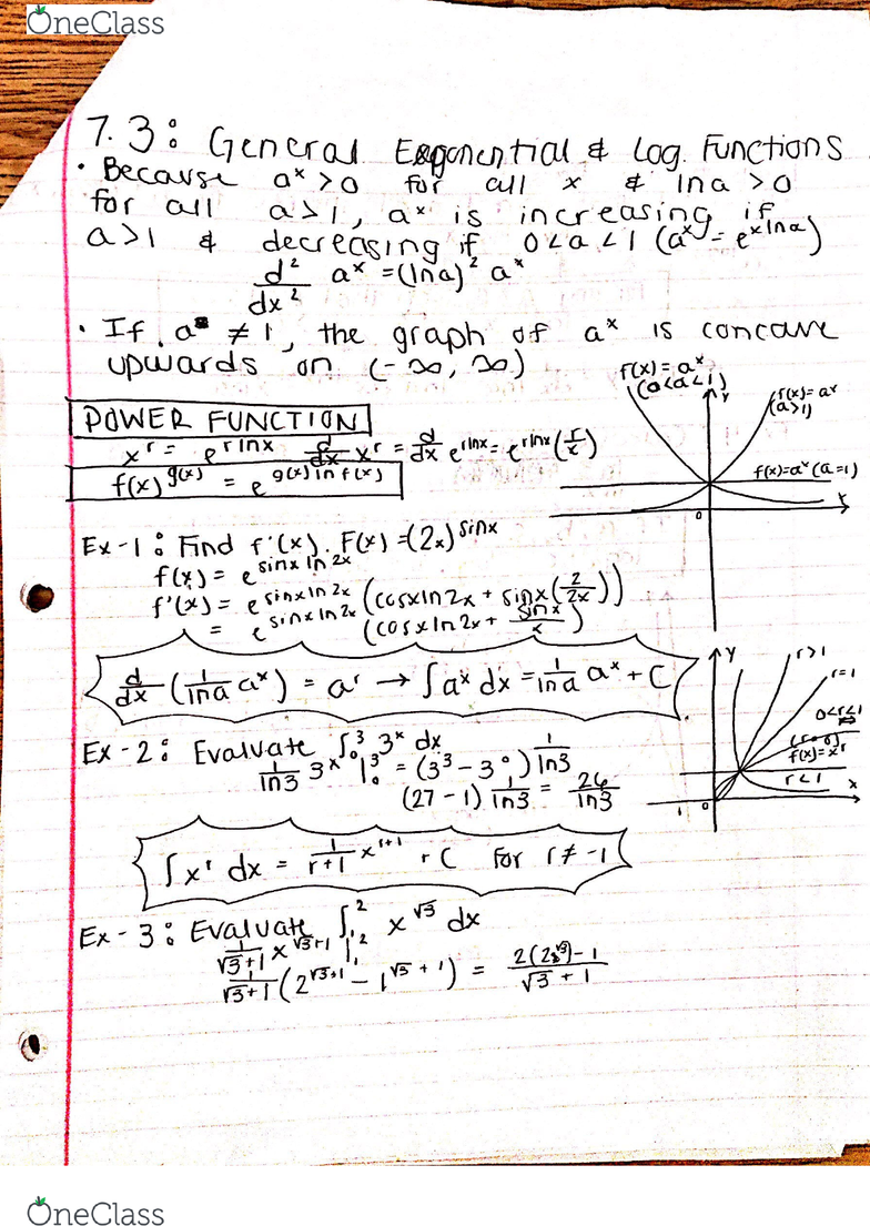 MATH 141 Chapter 7 3: General Exponential and Logarthimic Functions