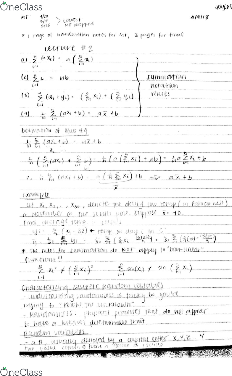 STA 103 Lecture 2: Summation Rules and Random Variables