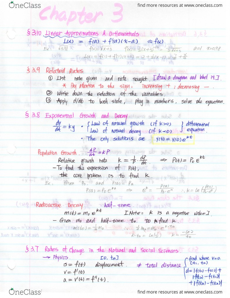 MATH 1000 Textbook Notes - Fall 2013, Chapter 3 - System On