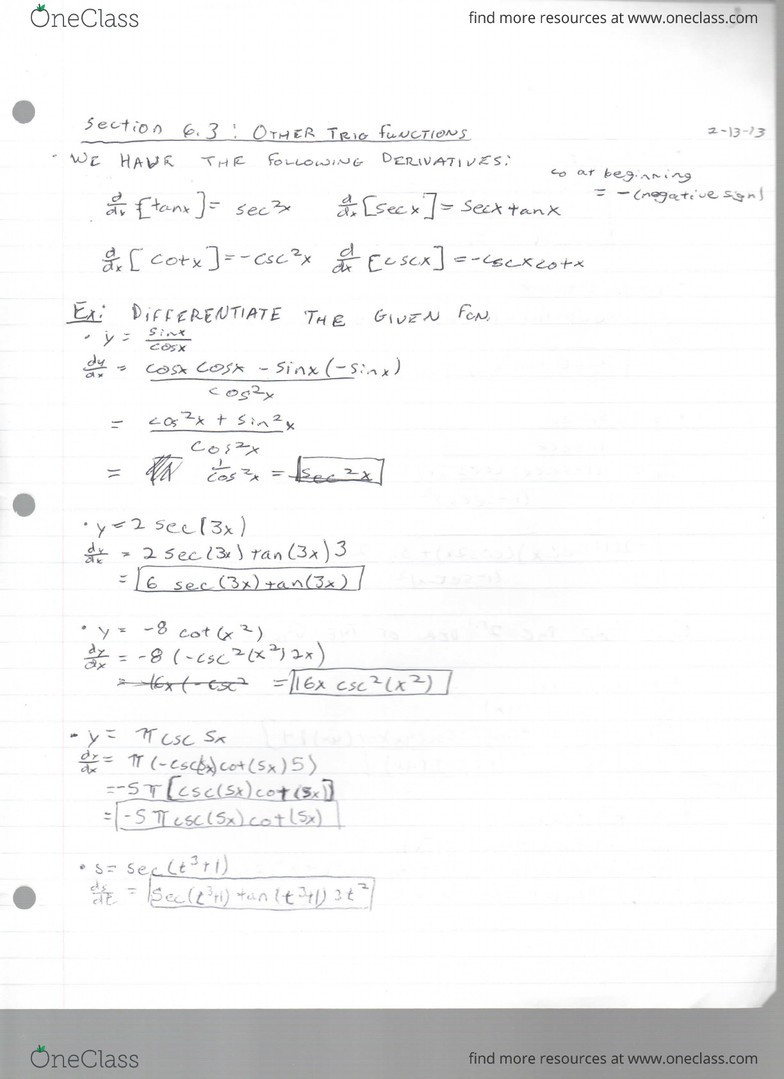 Section 6 3 Other Trig Functions pdf - OneClass