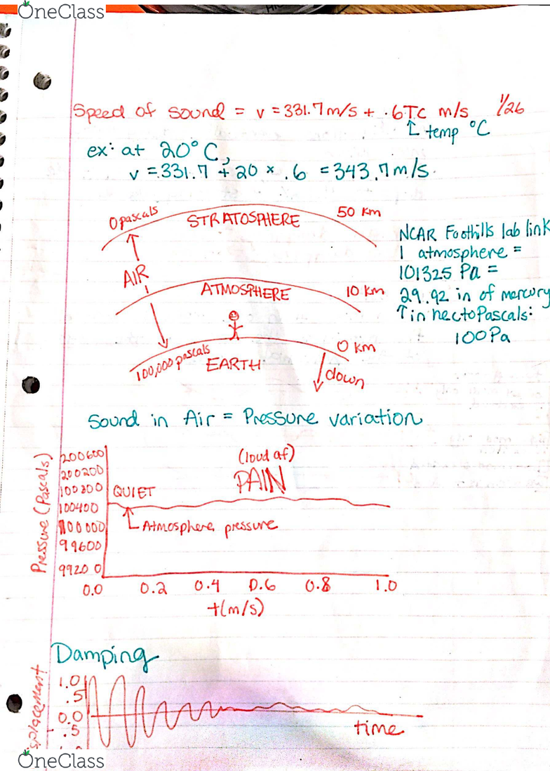 PHYS 1240 Lecture 4: Sound and Music Notes Jan 26