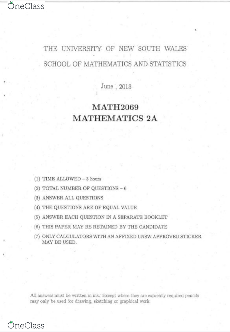MATH2069 Study Guide - Fall 2019, Final - Analytic Function