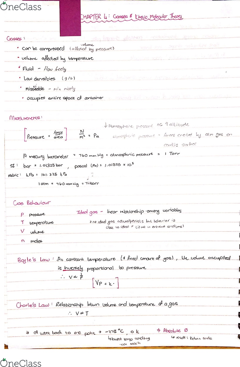 CHM1311 Lecture 8: chapter 4-Kinetic molecular theory