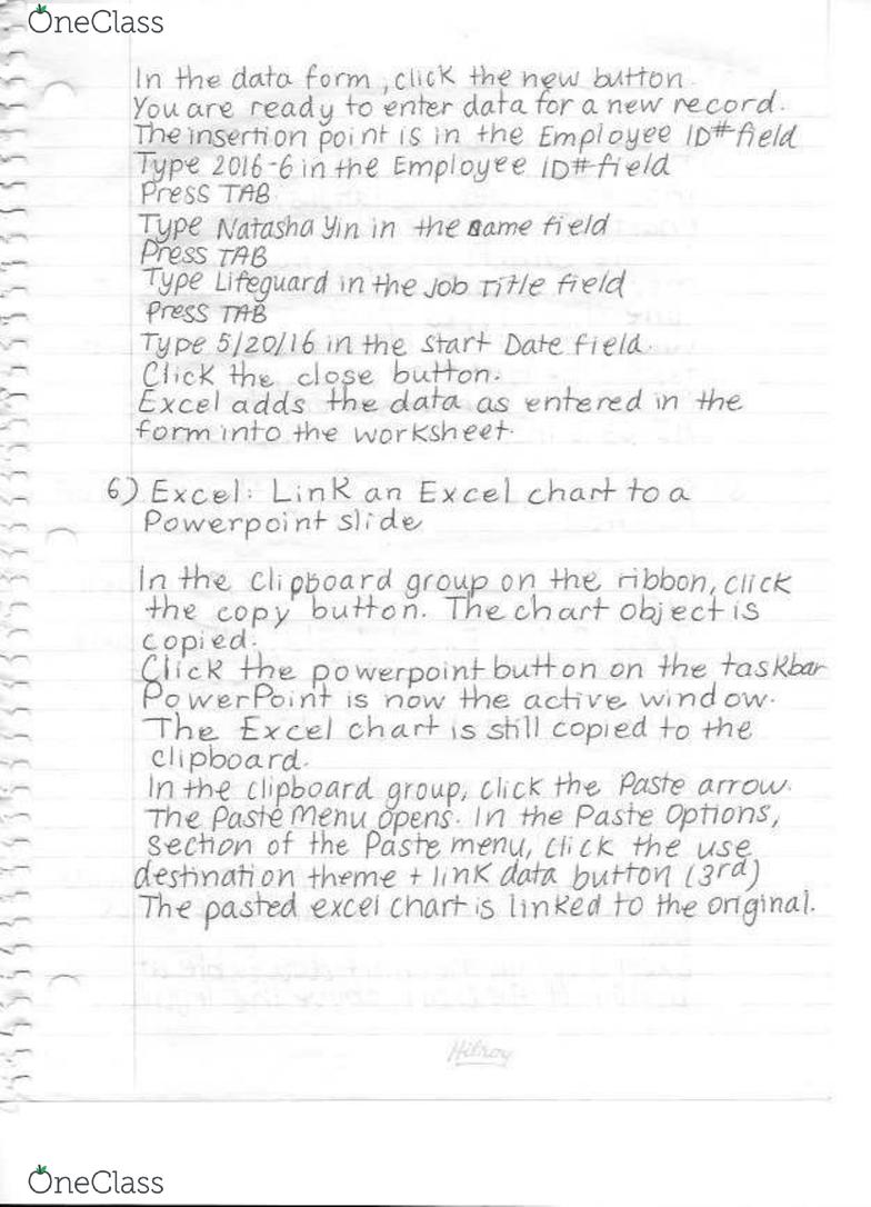 BTM 200 Midterm: Excel Exam A Review Notes - OneClass
