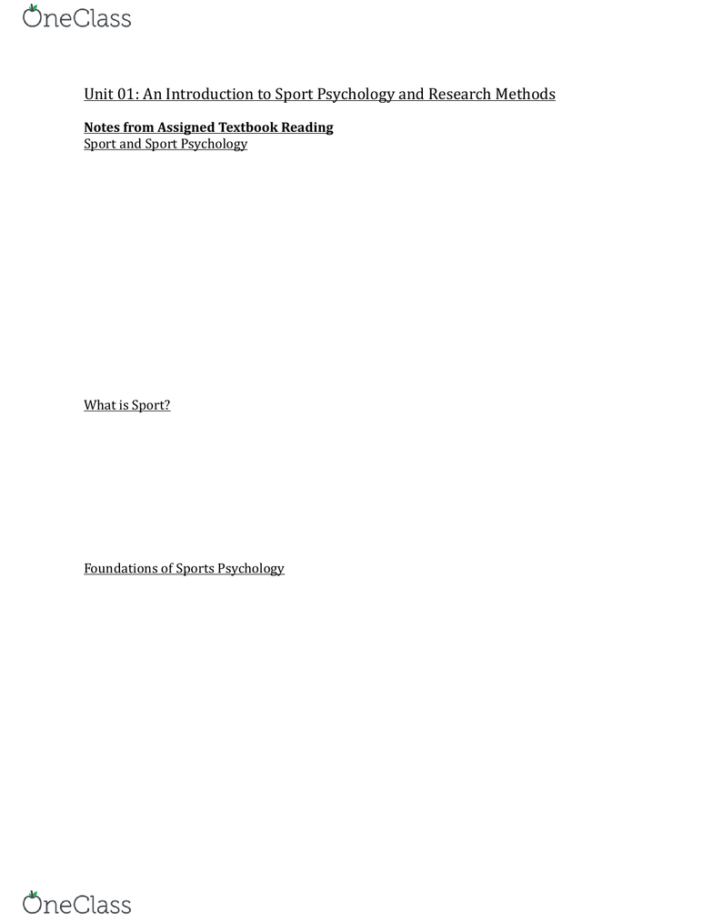 PSYC 3480 Textbook Notes - Summer 2018, Chapter 1 - Jousting, Sport