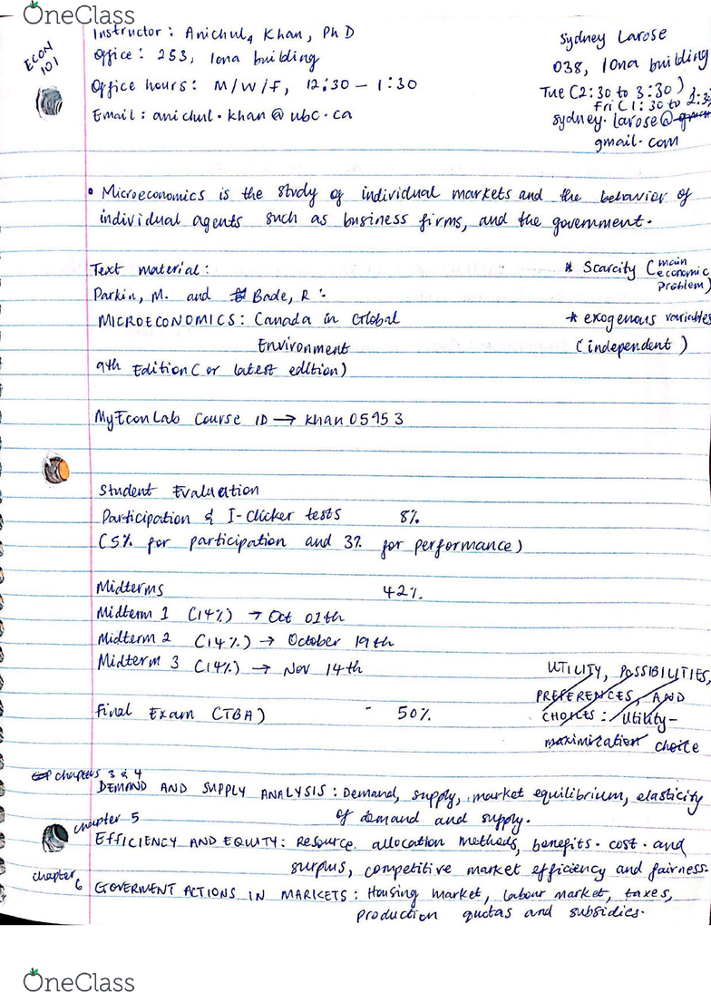ECON 101 Lecture 1: Important Syllabus Notes and Class Info - OneClass