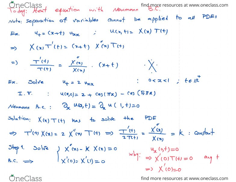 MATH 300 Lecture 4: (Week 4) Separation of Variables