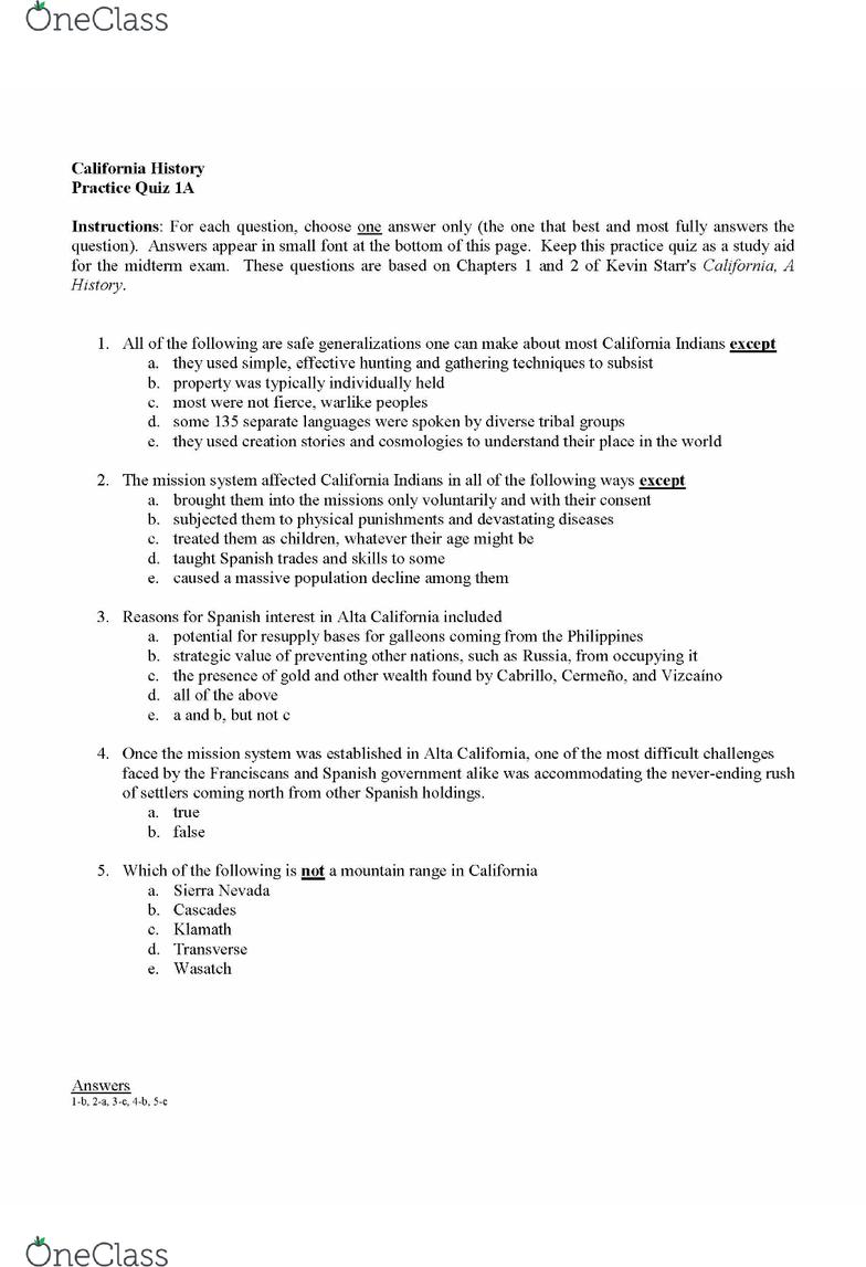 HST 370 Quiz 1