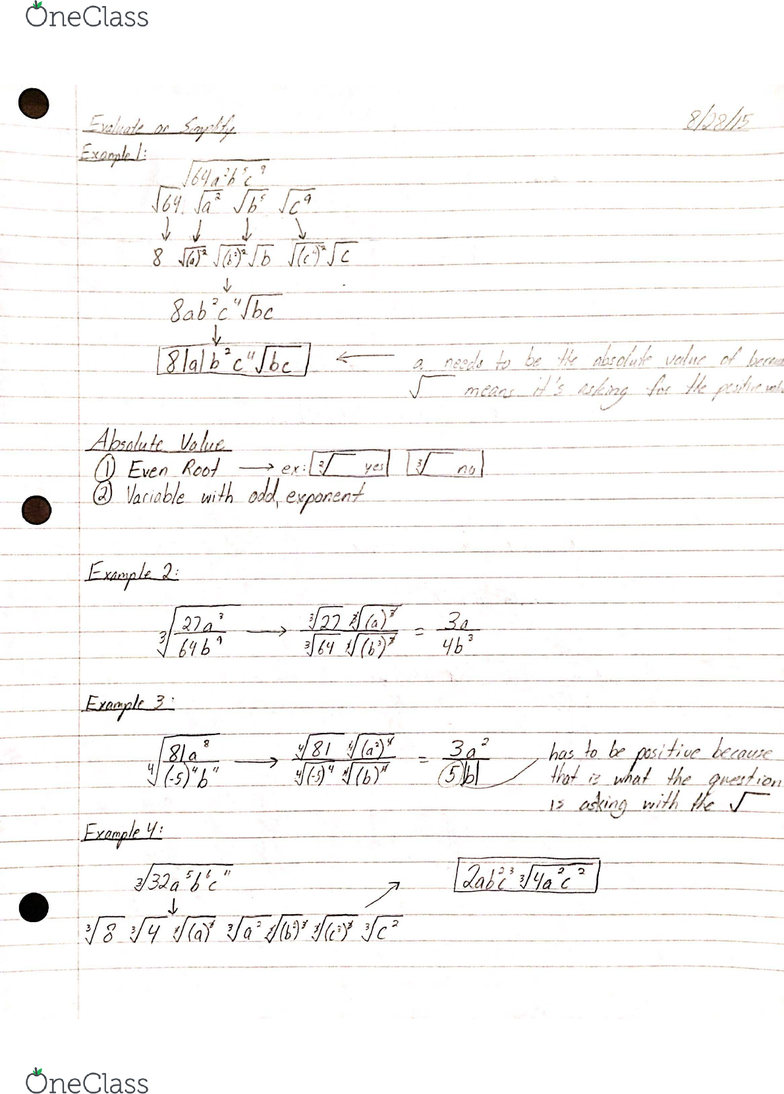 MATH 1021 Lecture Notes - Fall 2015, Lecture 1 - Nth Root