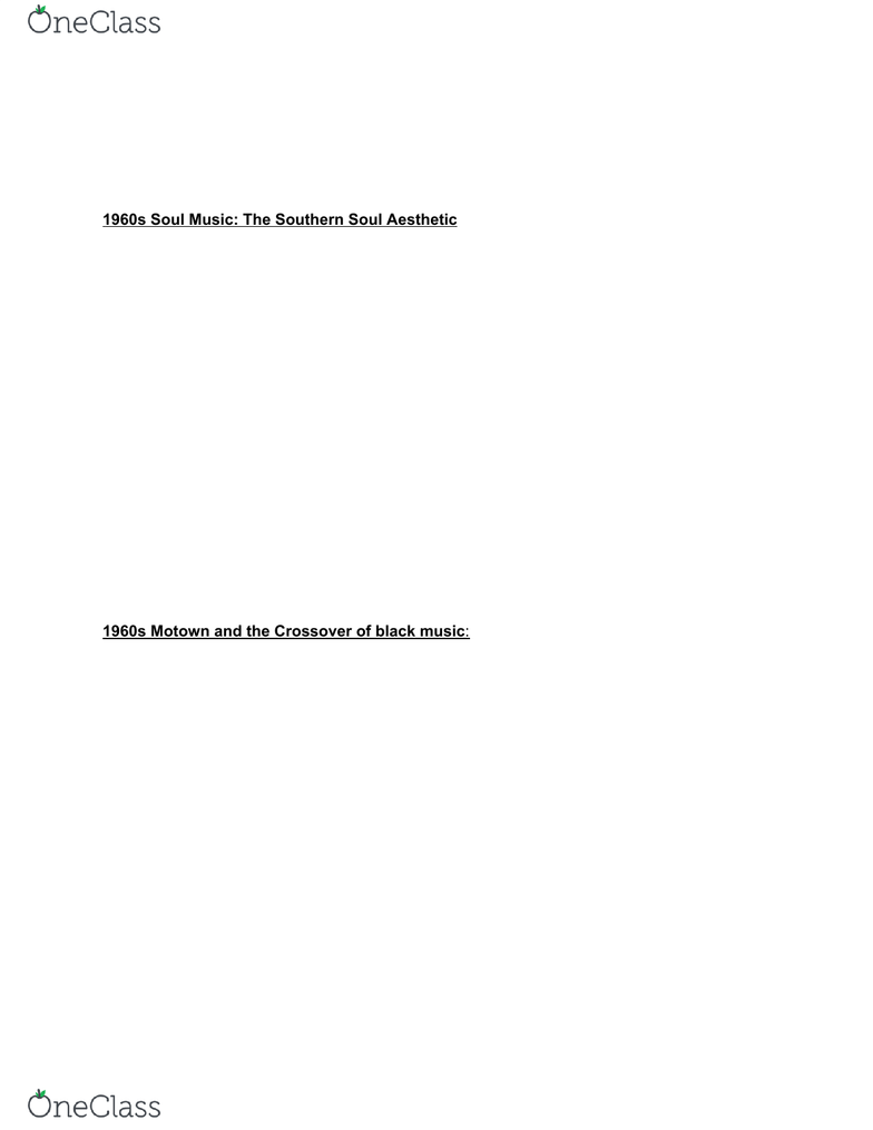 MUS 285 Study Guide - Final Guide: The Record Company, Otis Redding, Soul  Music