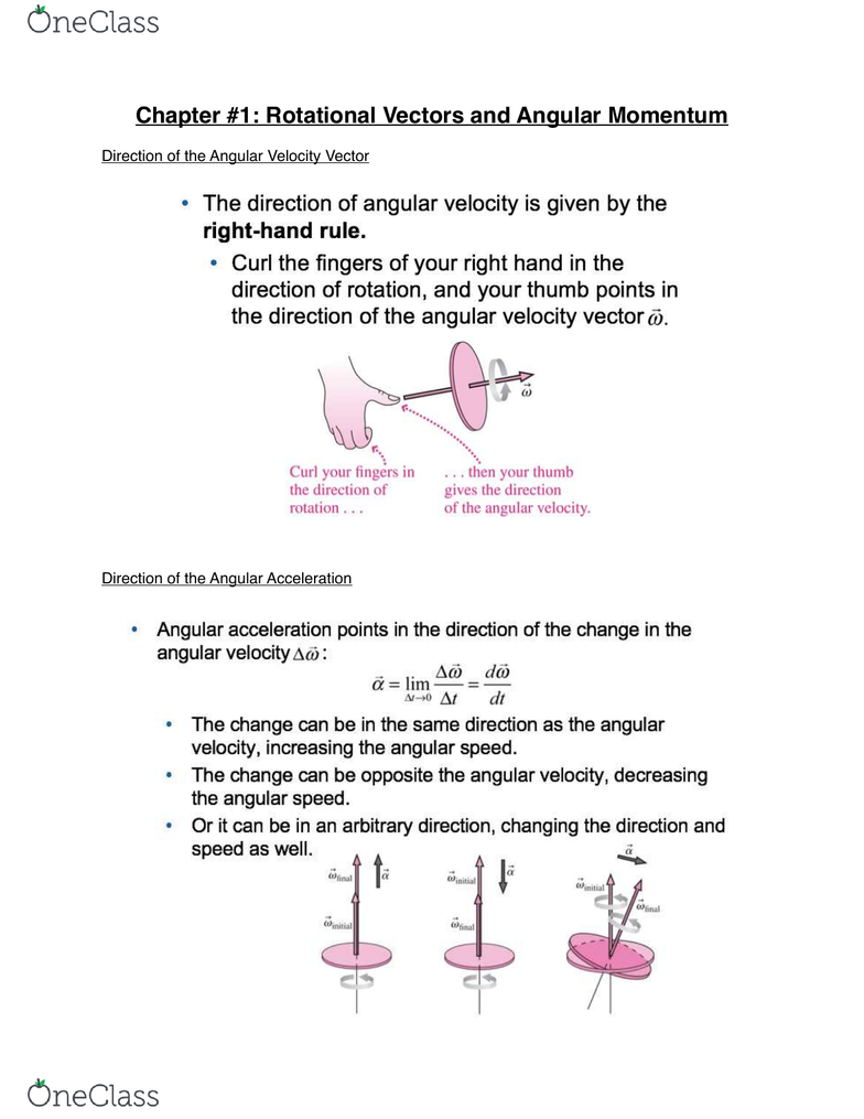 Physics 1301A/B Lecture 11: Chapter #11: Rotational Vectors and Angular  Momentum