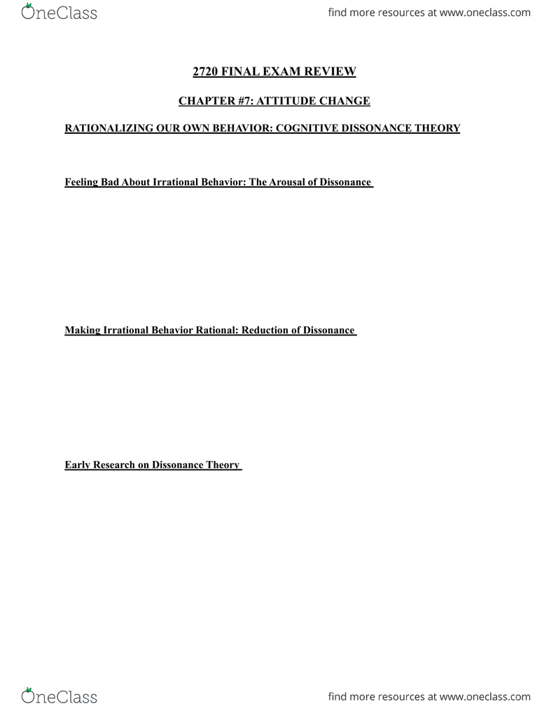 Psychology 2720A/B FINAL REVIEW PDF pdf - OneClass
