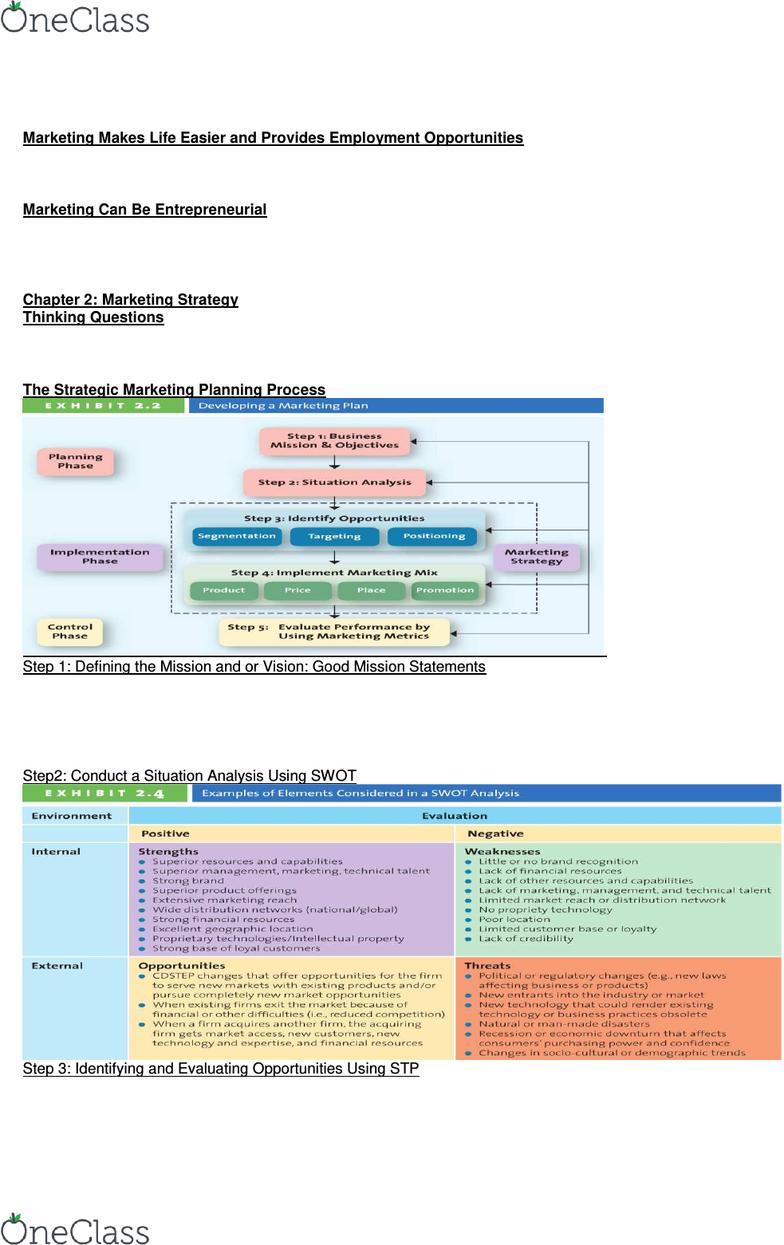 MKT 100 Midterm: Marketing Midterm Notes - OneClass