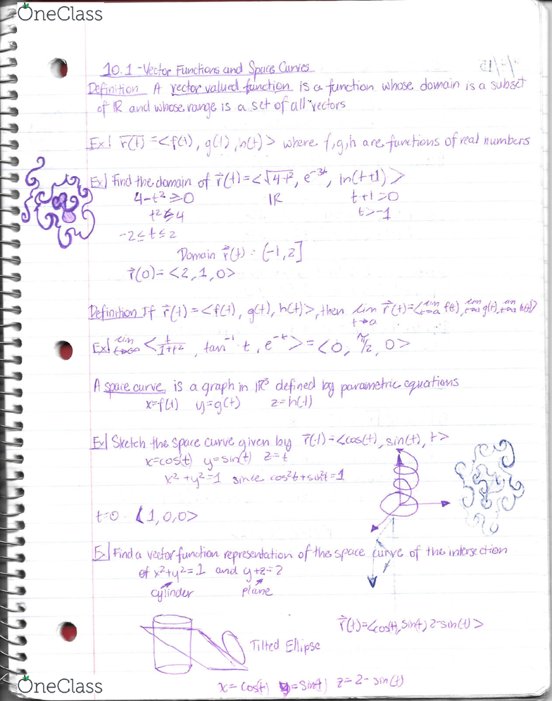 MA 242 Lecture 7: Equations of Lines and Planes, Vectors Functions