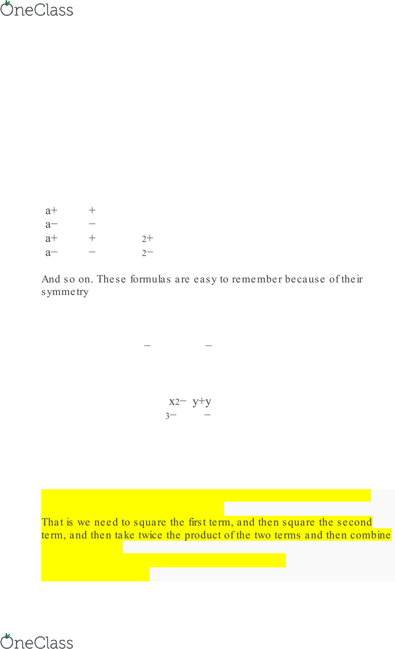 MATH 1111 Textbook Notes - 2017, Chapter Basic Algebra