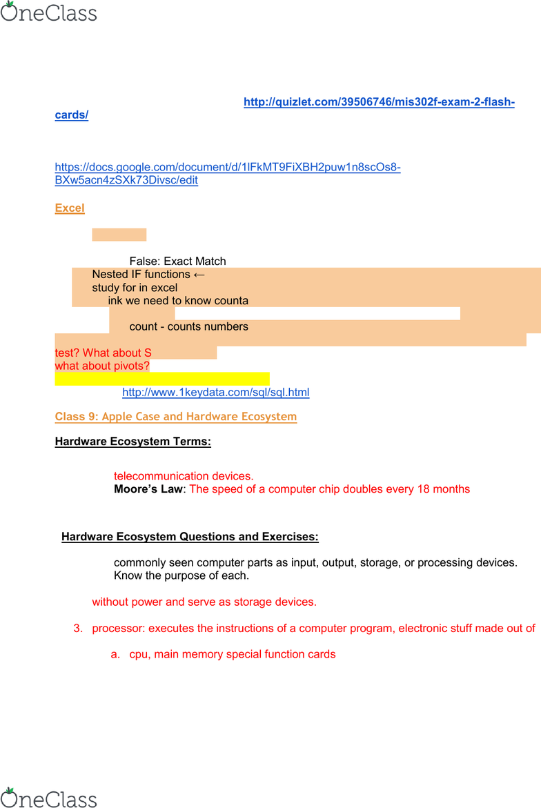study guide for excel test