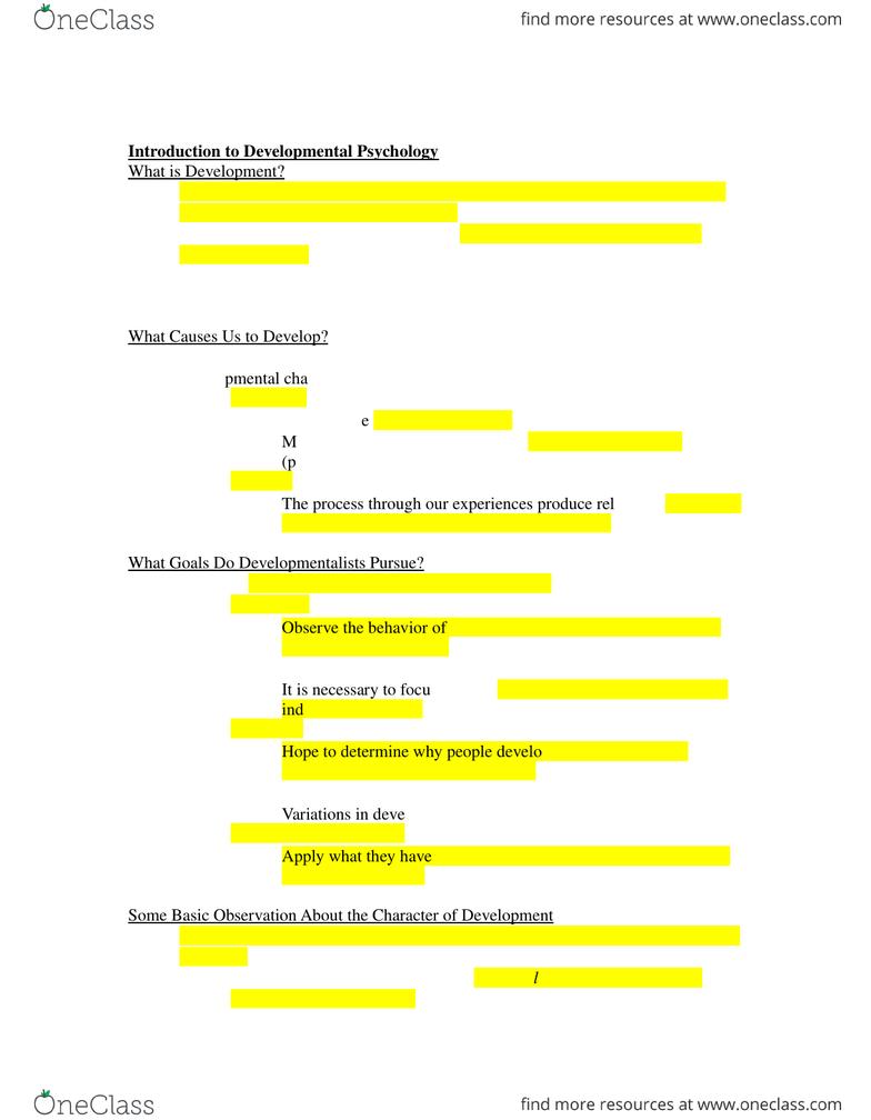 PSYC 2450 Textbook Notes - Fall 2014, Chapter 1 - Developmental