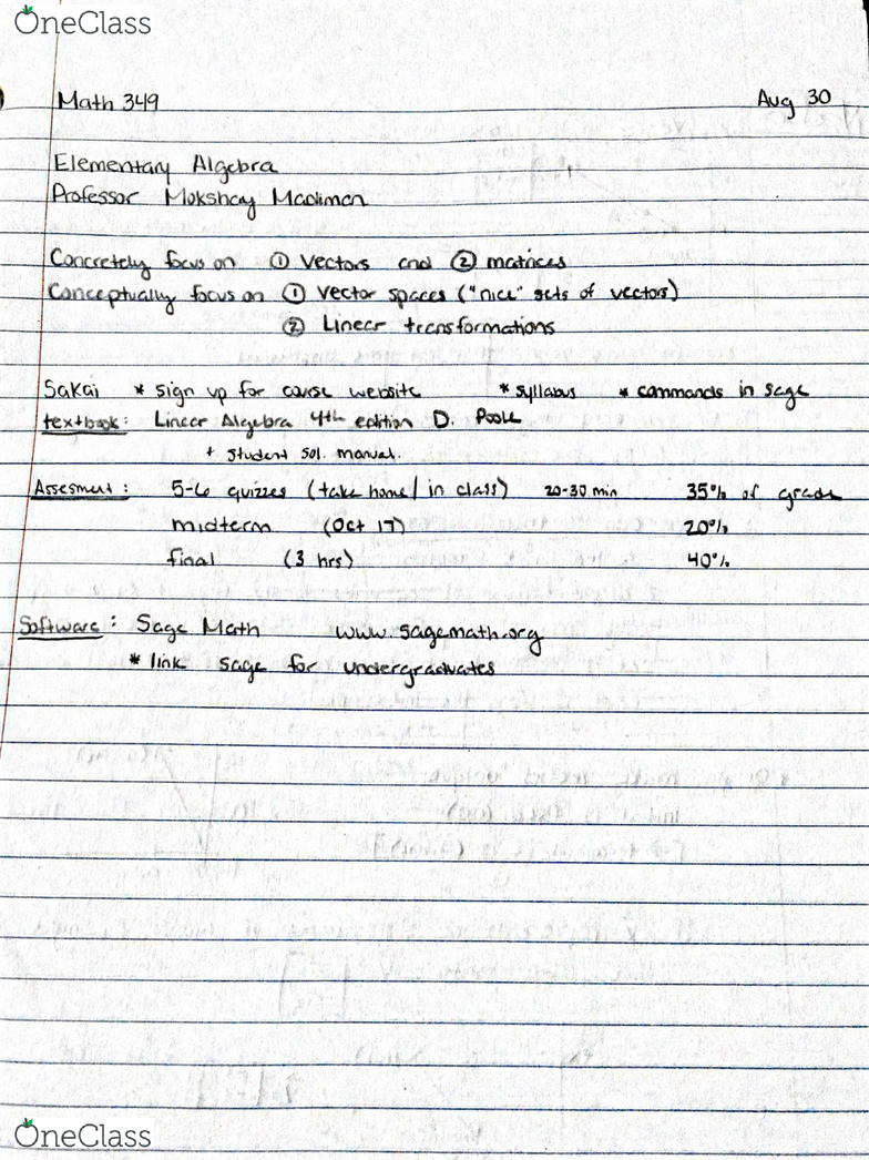 MATH349 Lecture 1: Math 349 (8-31)