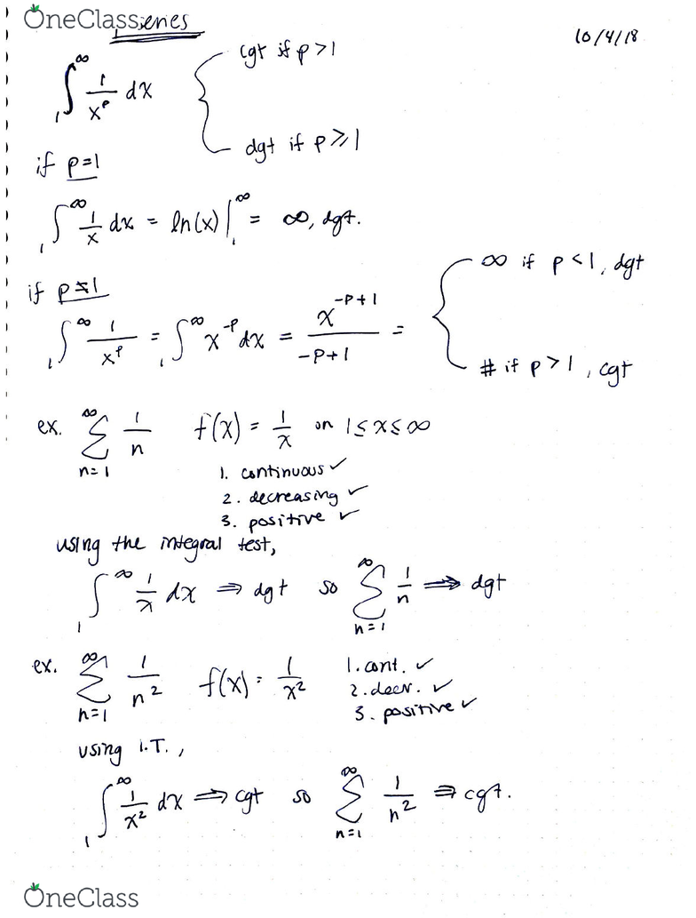 MATH 1342 Lecture 15: p series, geometric series and
