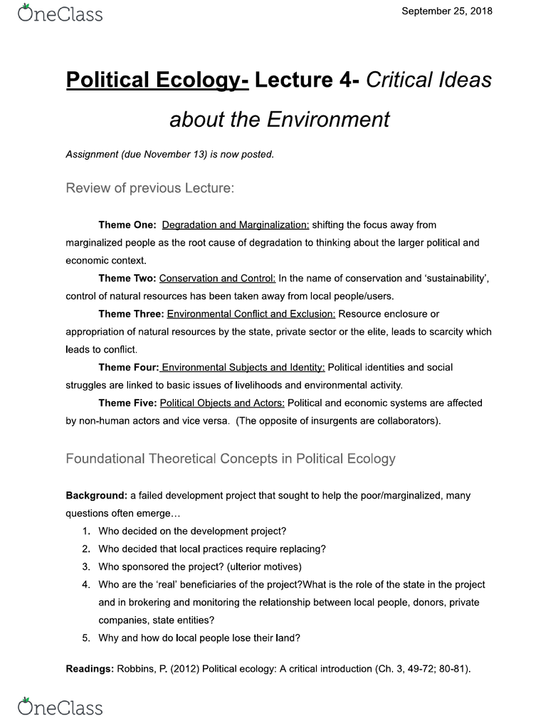 GGRB21H3 Lecture Notes - Lecture 4: Political Ecology, Environmental  History, Postcolonialism