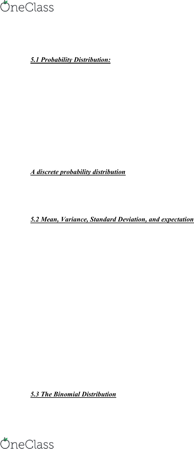 APA 3381 Lecture Notes - Lecture 5: Probability Distribution, Random  Variable, Standard Deviation