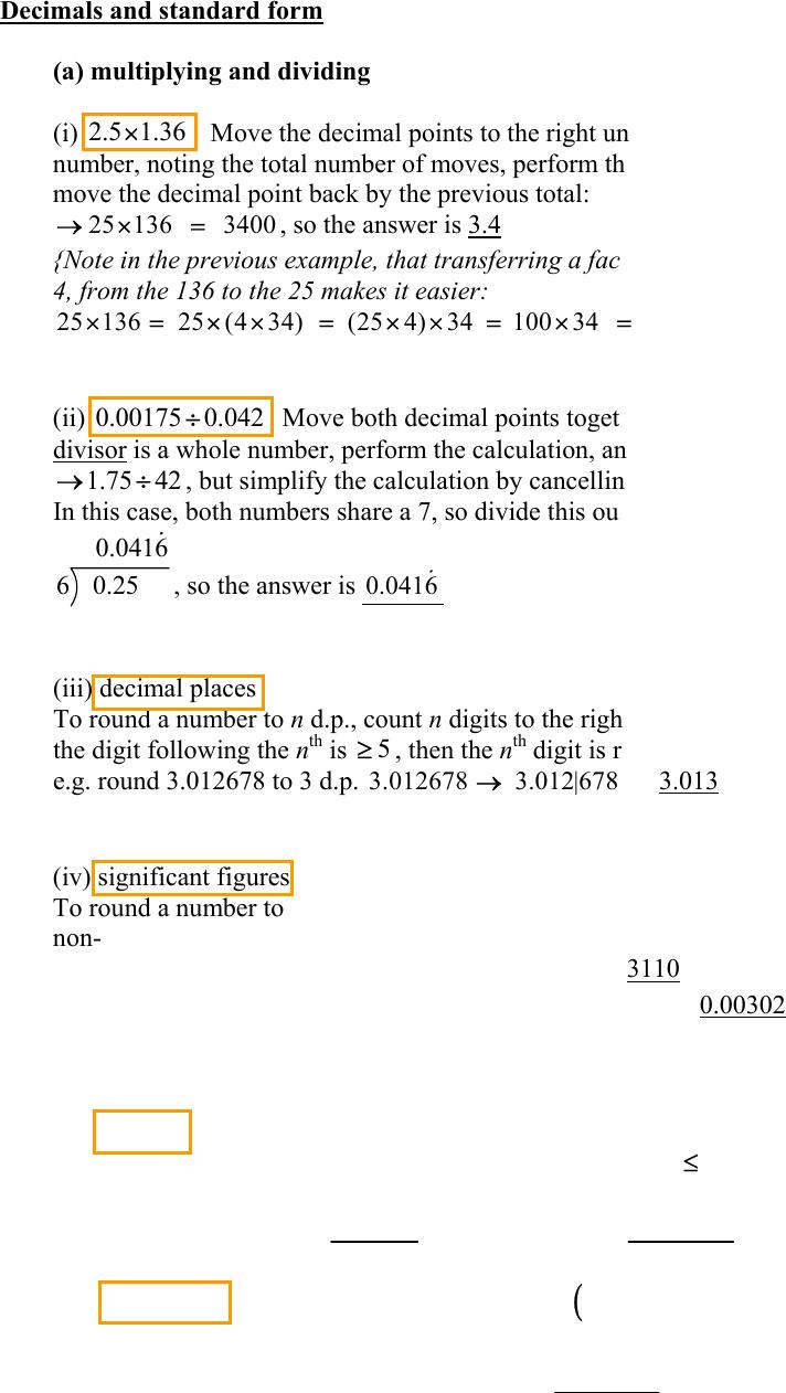 decimals and standard form top