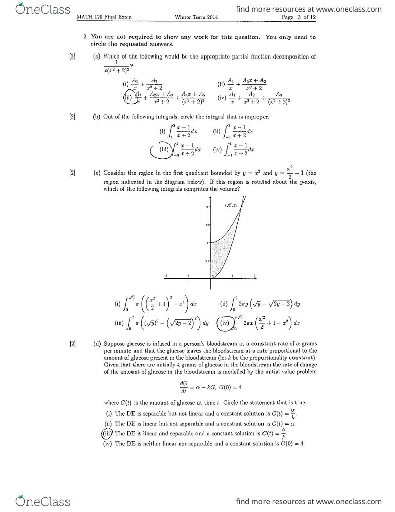 MATH128 Final: Math 128 W14 Final Exam Solutions pdf - OneClass