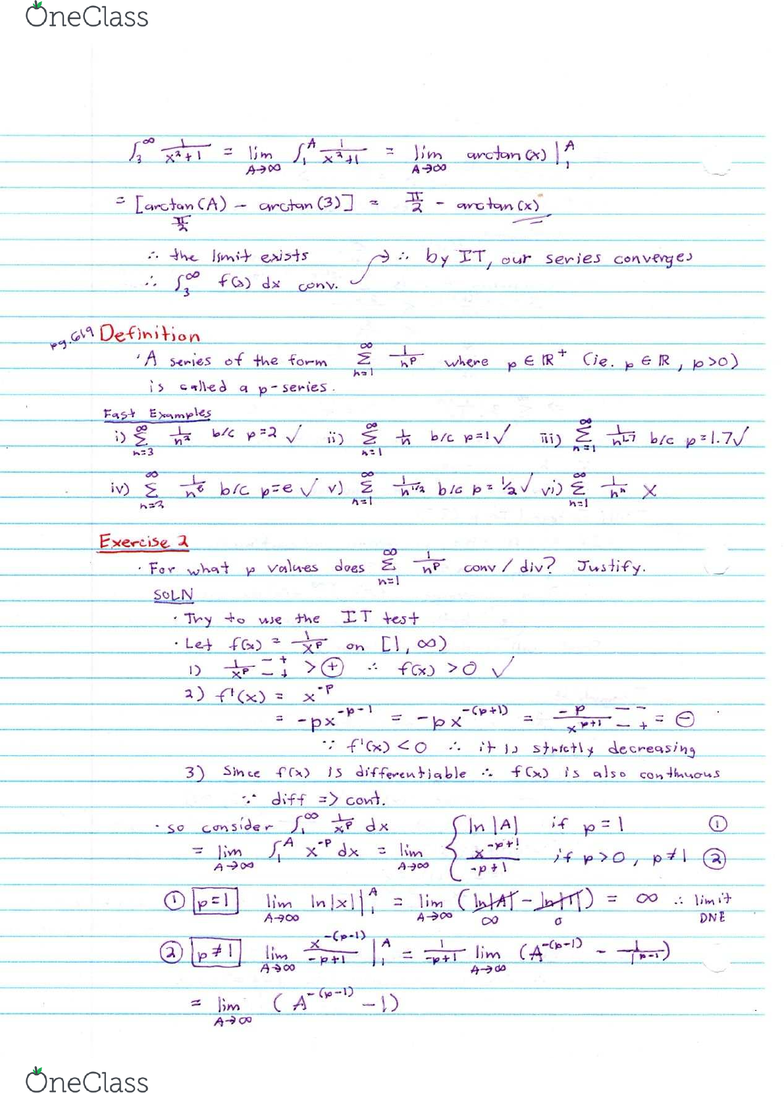 MATA37H3 Lecture 10: Divergence Test, P-series test and