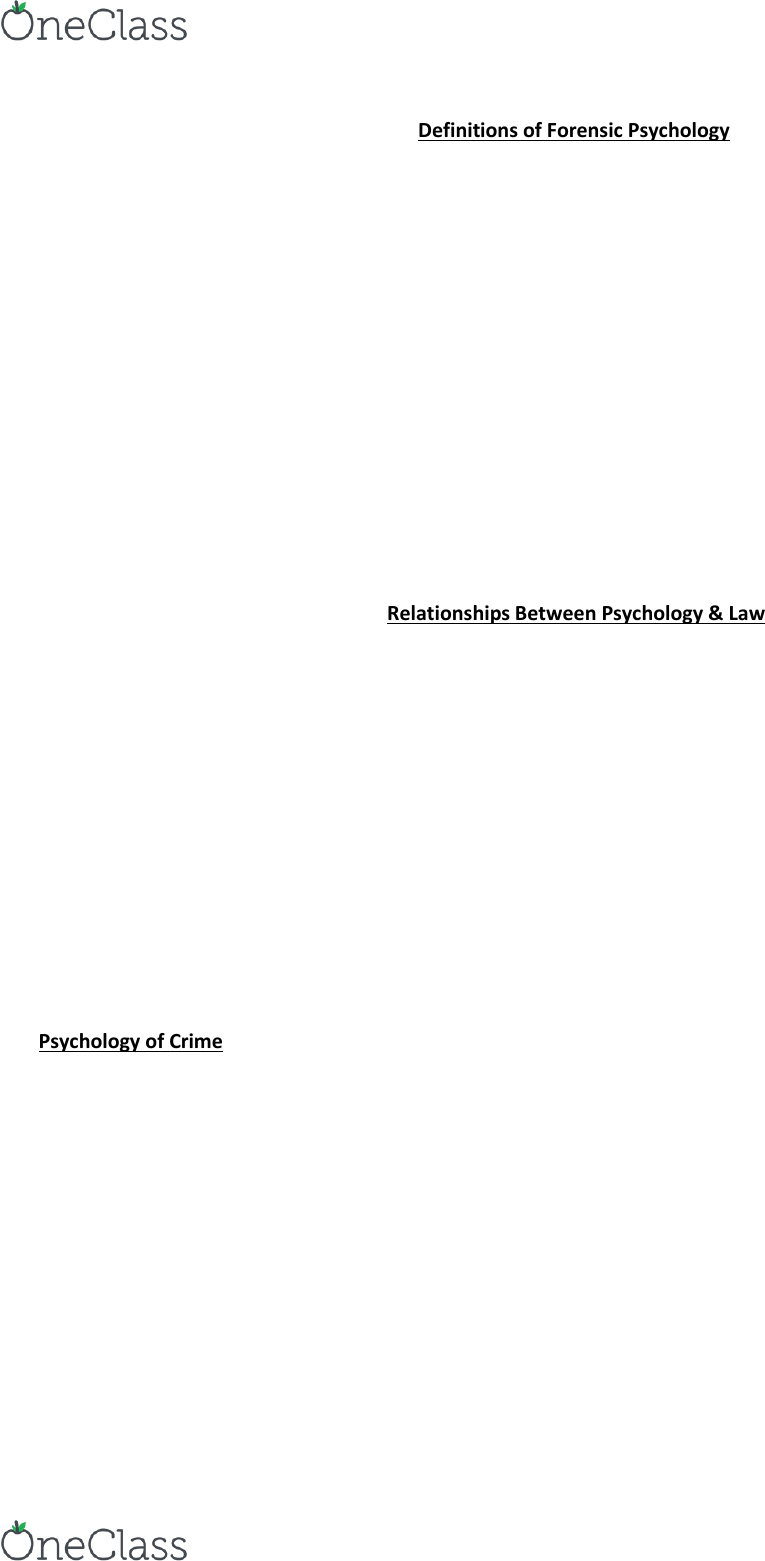 Psychology 2032a B Lecture Notes Spring 2018 Lecture 1 Forensic Psychology Developmental Psychology Psych
