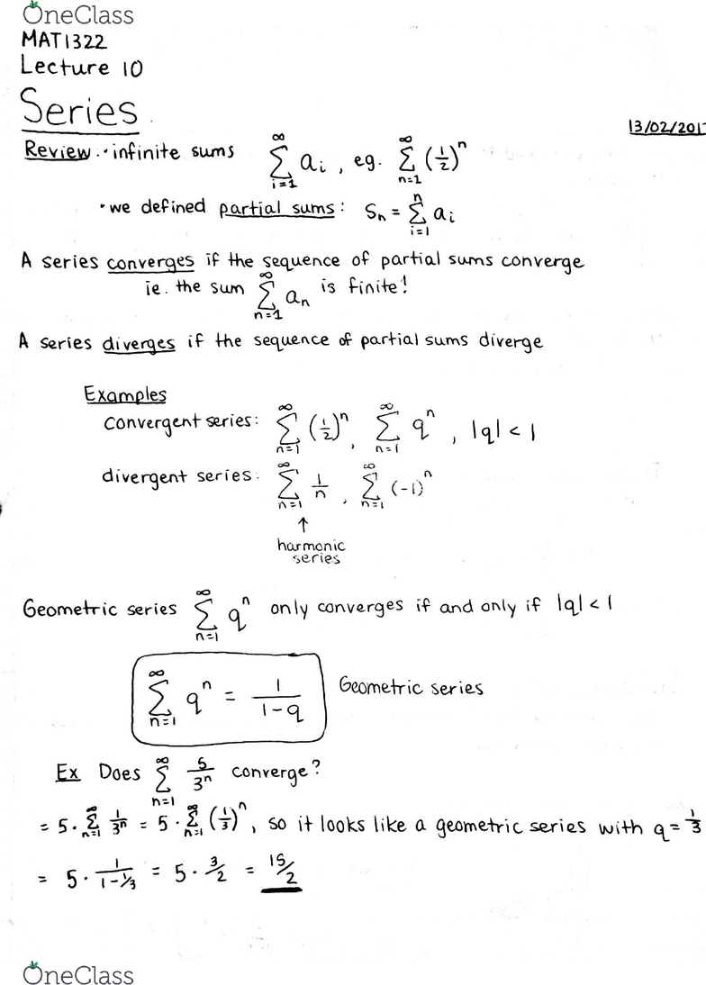 MAT1322 Lecture 10: Series - Integral Test and Comparison