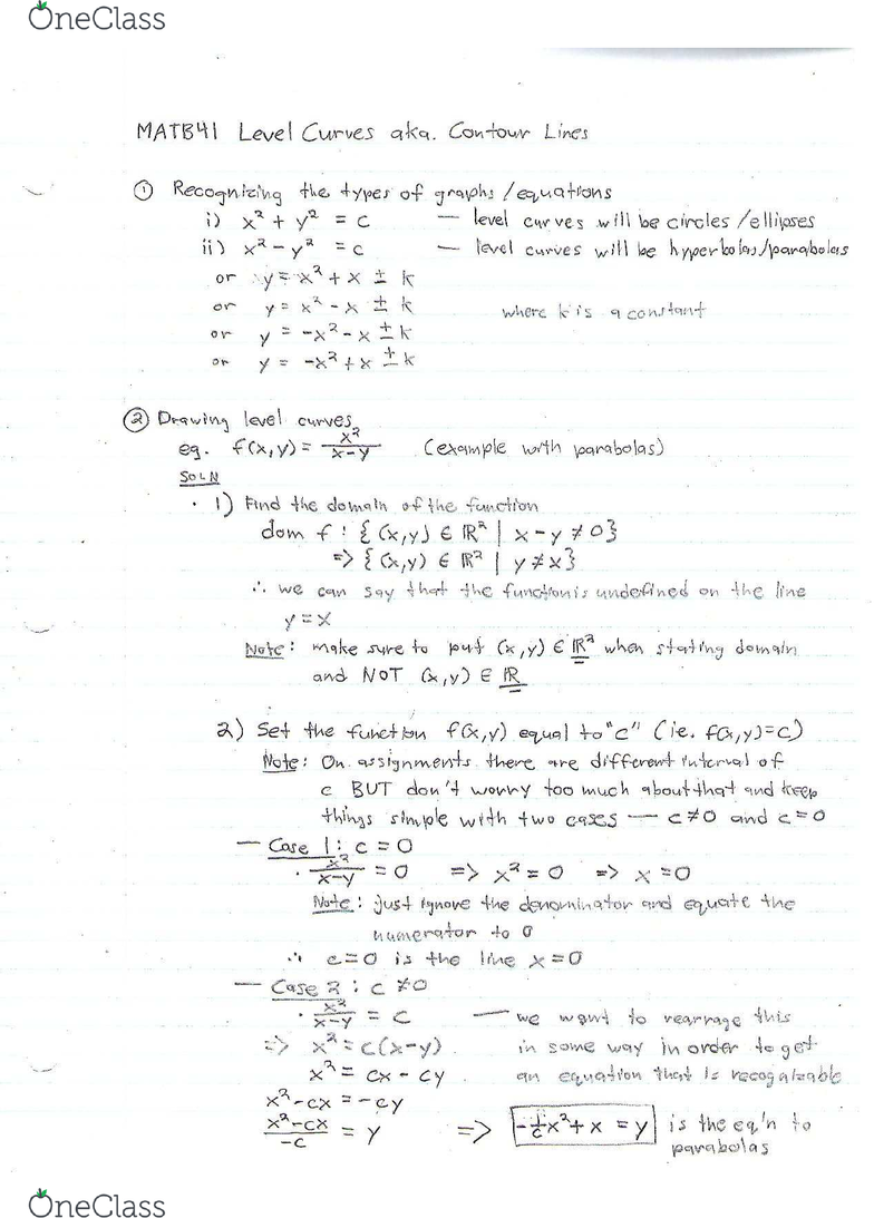 MATB41H3 Midterm: Detailed Examples for Drawing Level Curves