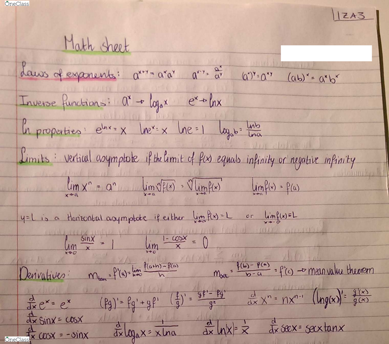 MATH 1ZA3 Final: Summary Notes PDF - OneClass