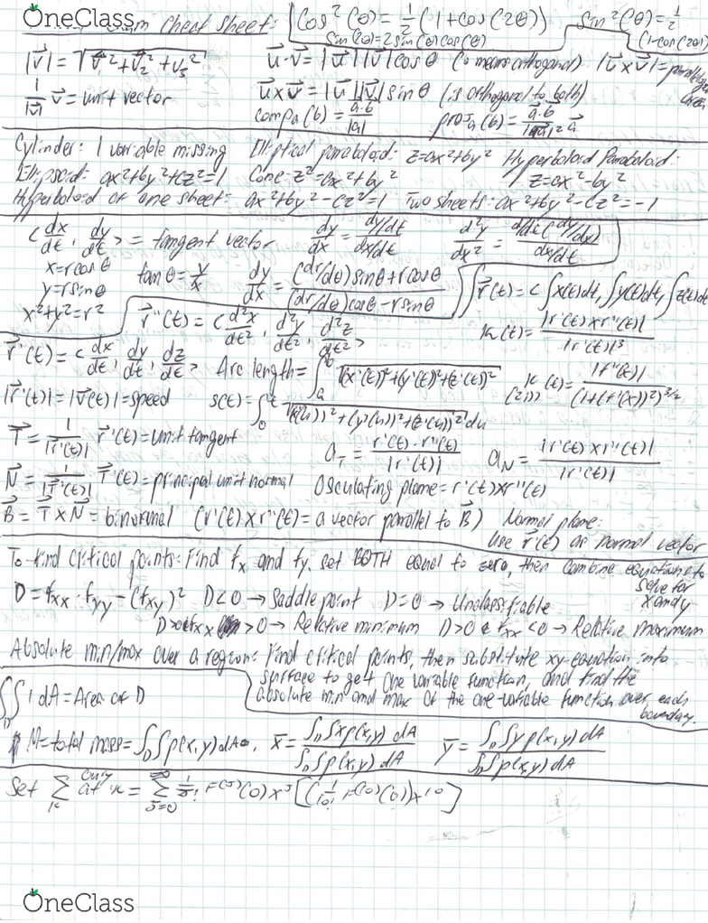 MATH 126 Final: Final Exam Cheat Sheet - OneClass