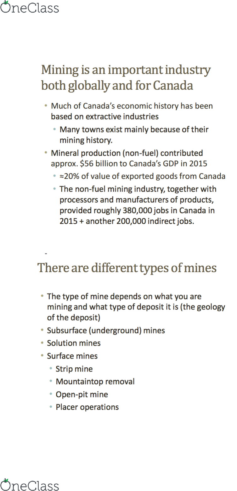 ENV100H1 Lecture 56: 56 – Mineral Resources and Mining (II