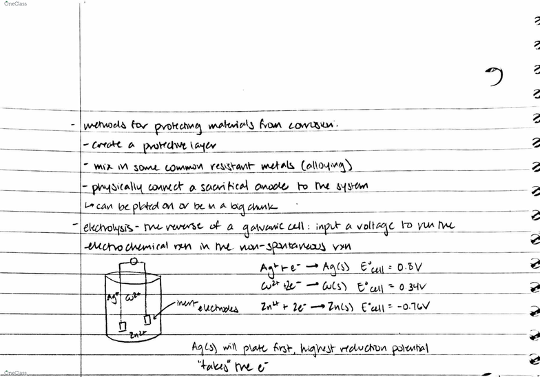 CHE 2C Lecture 5: Electrochemistry
