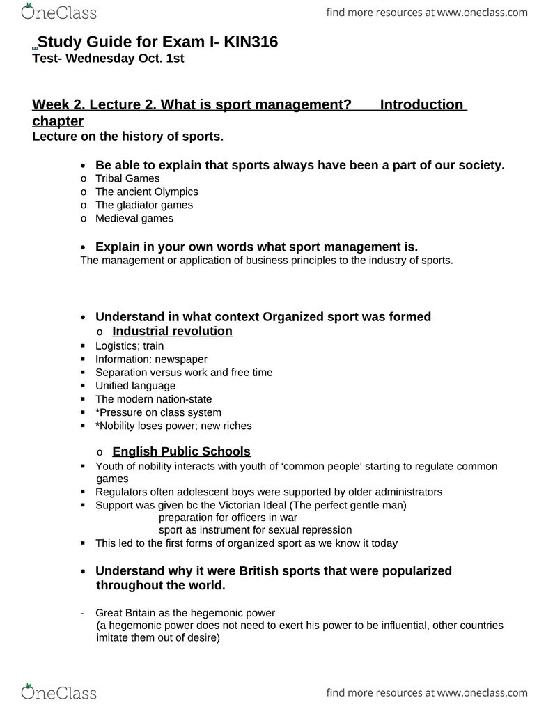 Study Guide For Exam I 1 Got A In The Course EClass