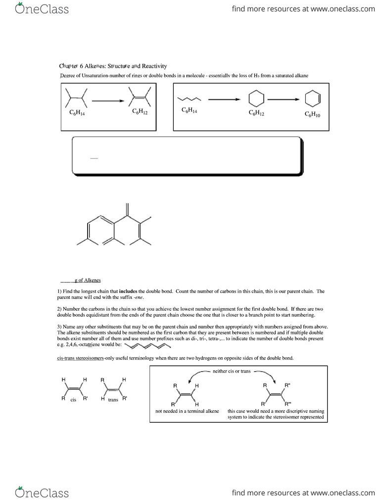 CHEM-UA 210 Study Guide - Midterm Guide: Alkene