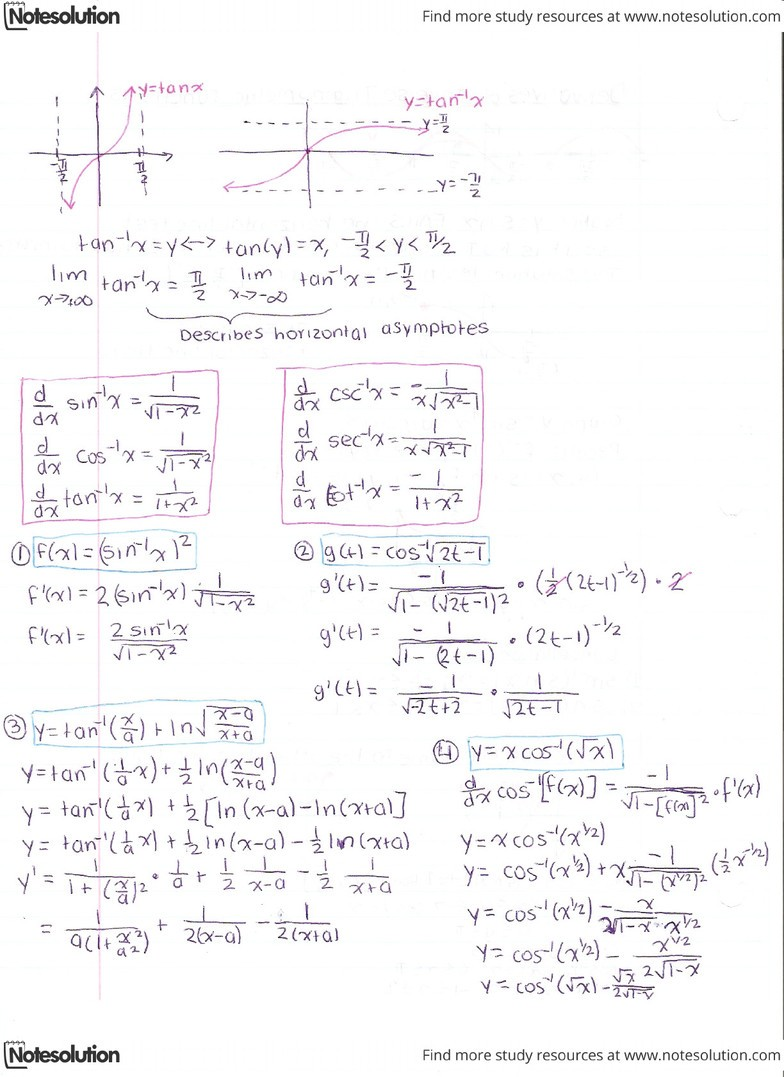 Derivatives of Inverse Trig Functions Problems pdf - OneClass