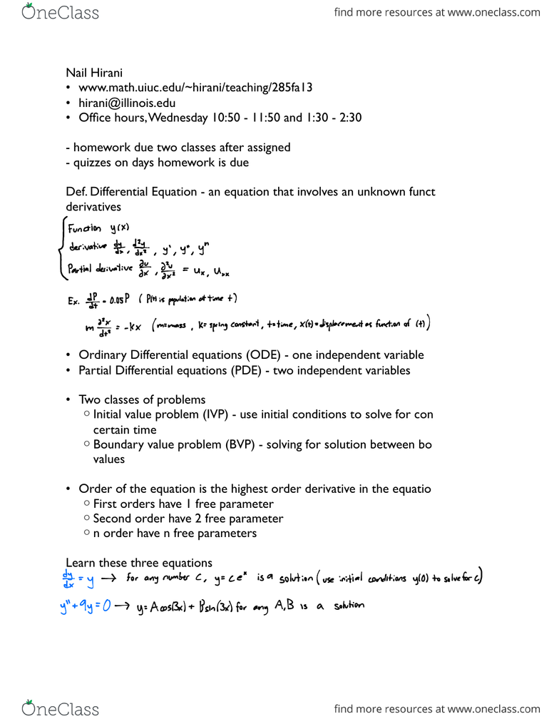 MATH 285 Lecture Notes - Fall 2013, - Religious Institute, Ordinary
