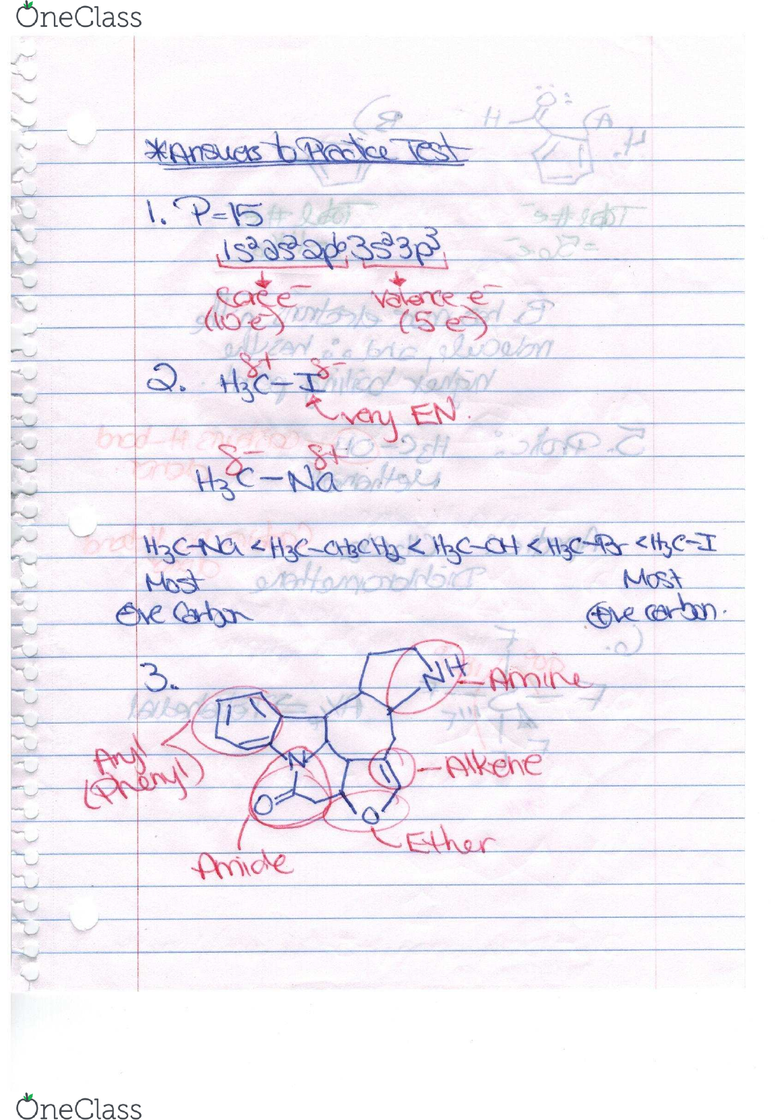Chemistry and Biochemistry 59-241 Lecture 13: Practice Test