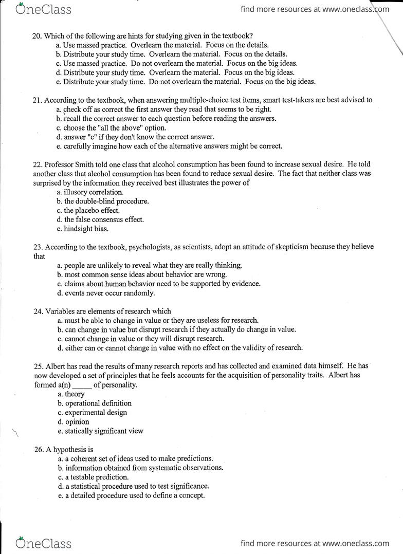 PSYC 1001 Study Guide - Spring 2013, Final - Psychological