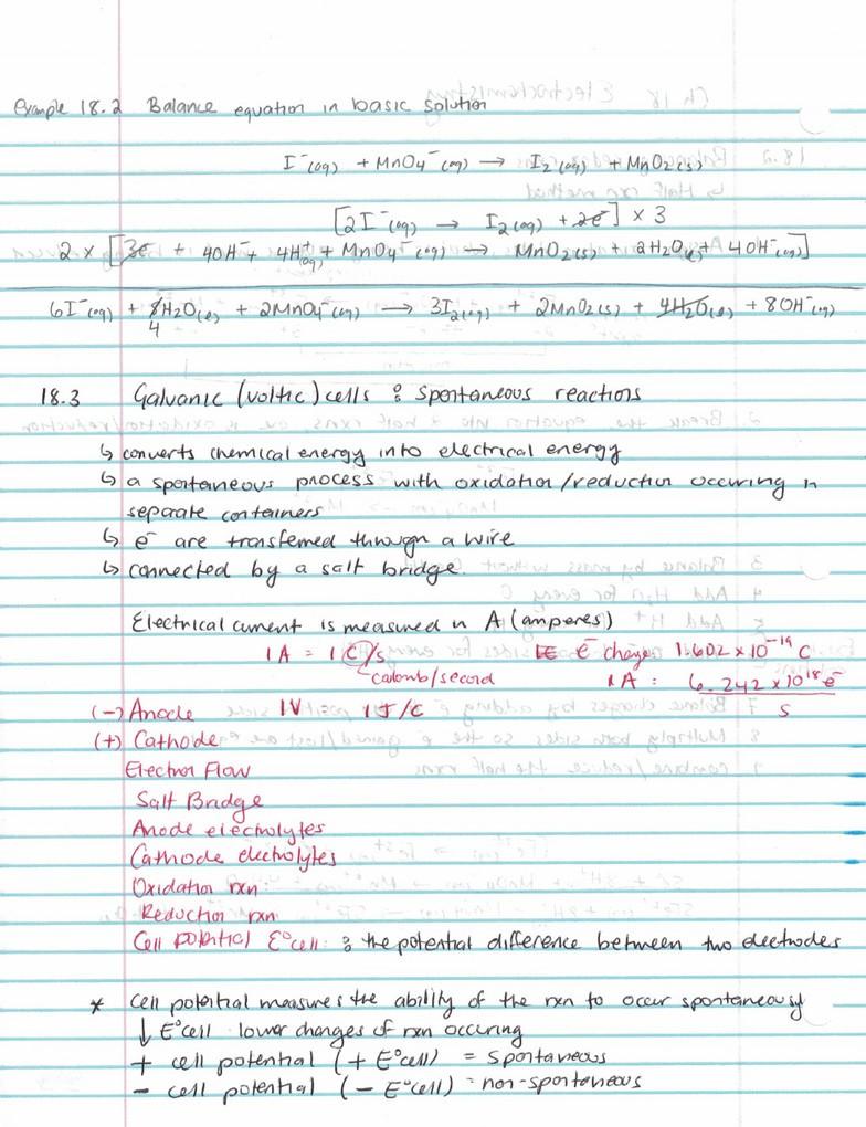 CHY113 Final: Chapter 18- Electrochemistry pdf