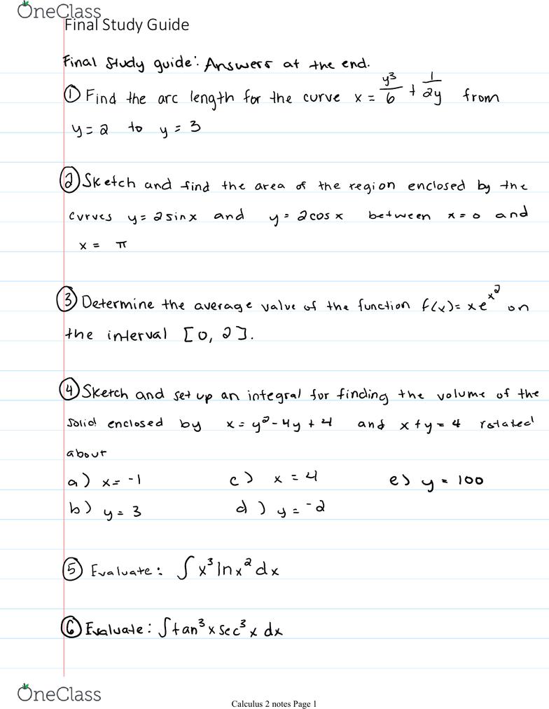 MATH 1620 Final: Final Exam Guide, 86 questions! - OneClass