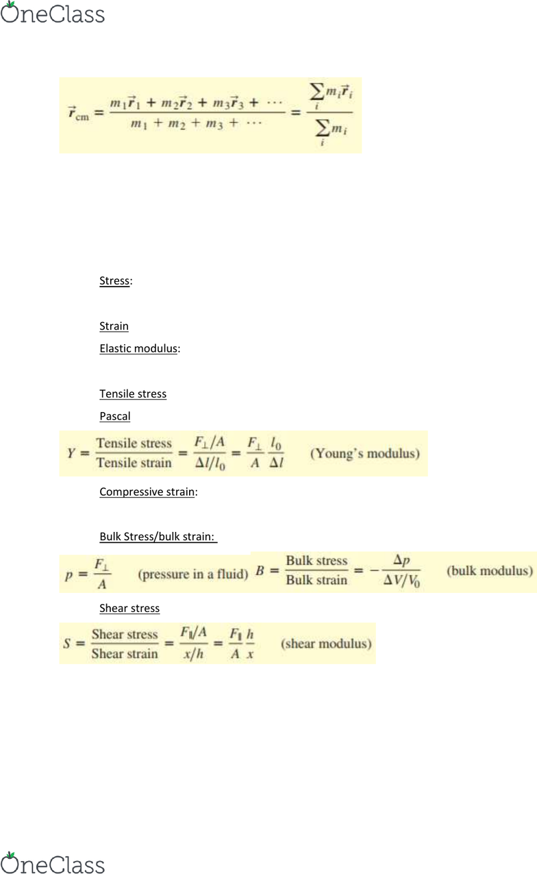 PHYS 2A Textbook Notes - Fall 2017, Chapter 11 - Shear