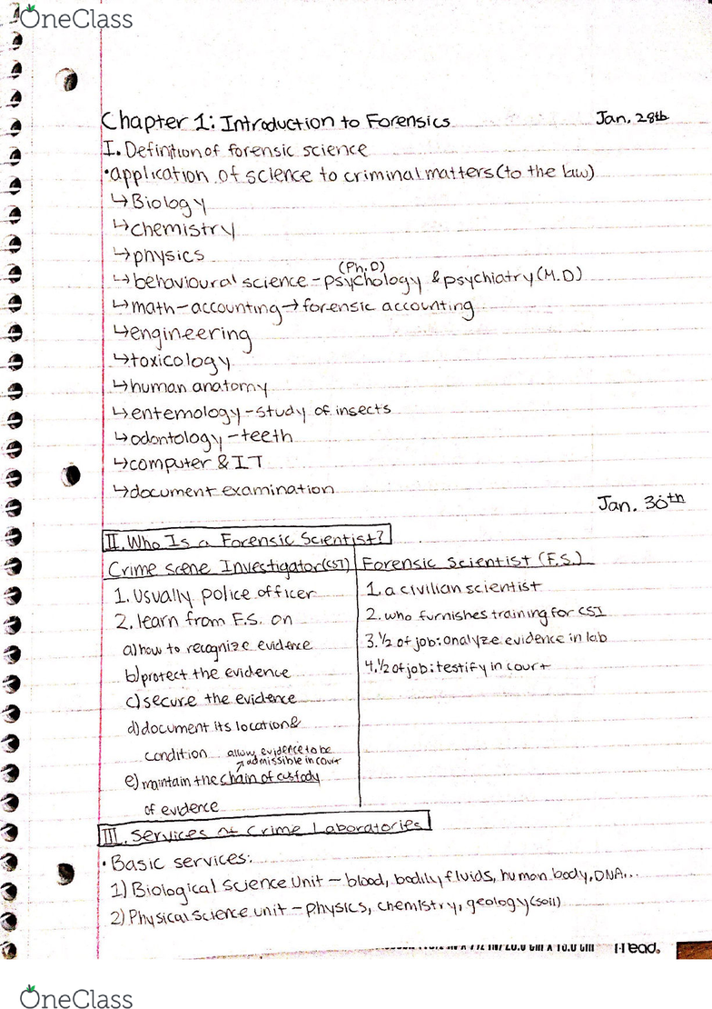Biol 102 Lecture 1 Chapter 1 Notes Introduction To Forensic Science Oneclass