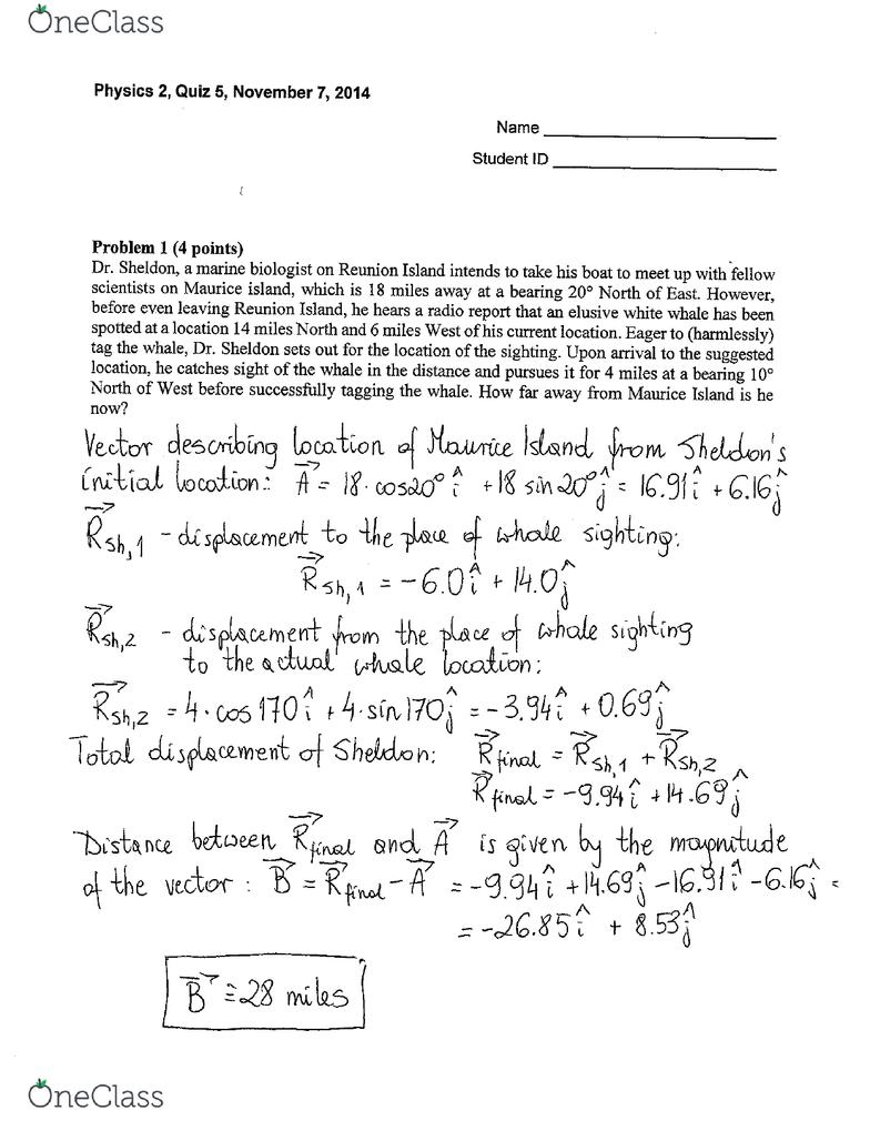 PHYSICS 2 Quiz: PHYSICS 2 Quiz 5 2014 Fall - OneClass