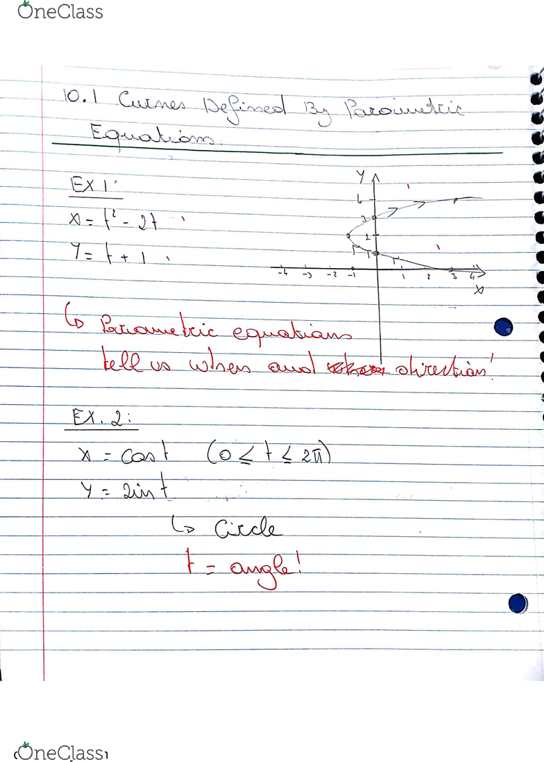 MATH 2D Chapter 10 1: Math 2D: Multivariable Calculus, Textbook note 10 1:  Parametric Curves