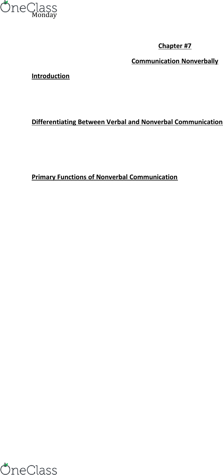 Cmn 1148 Textbook Notes Winter 2015 Chapter 7 Paralanguage Chronemics Human Imprint It is one of several subcategories of the study of nonverbal communication. oneclass