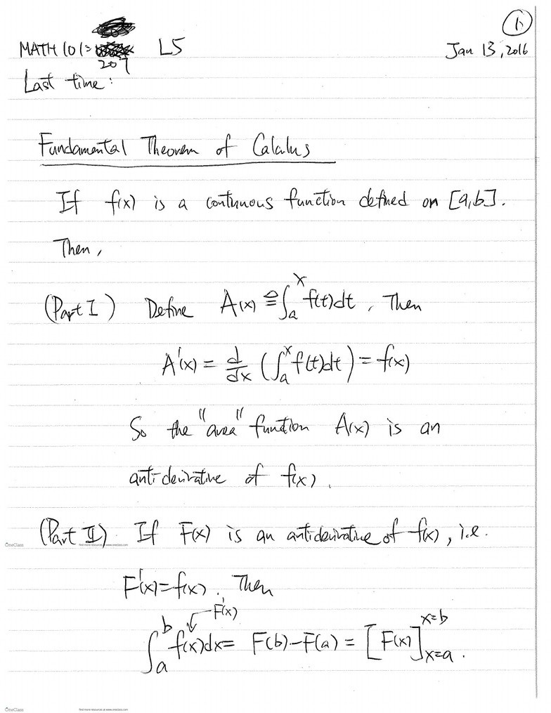 MATH 101 Lecture 5: Fundamental Theorem of Calculus - OneClass